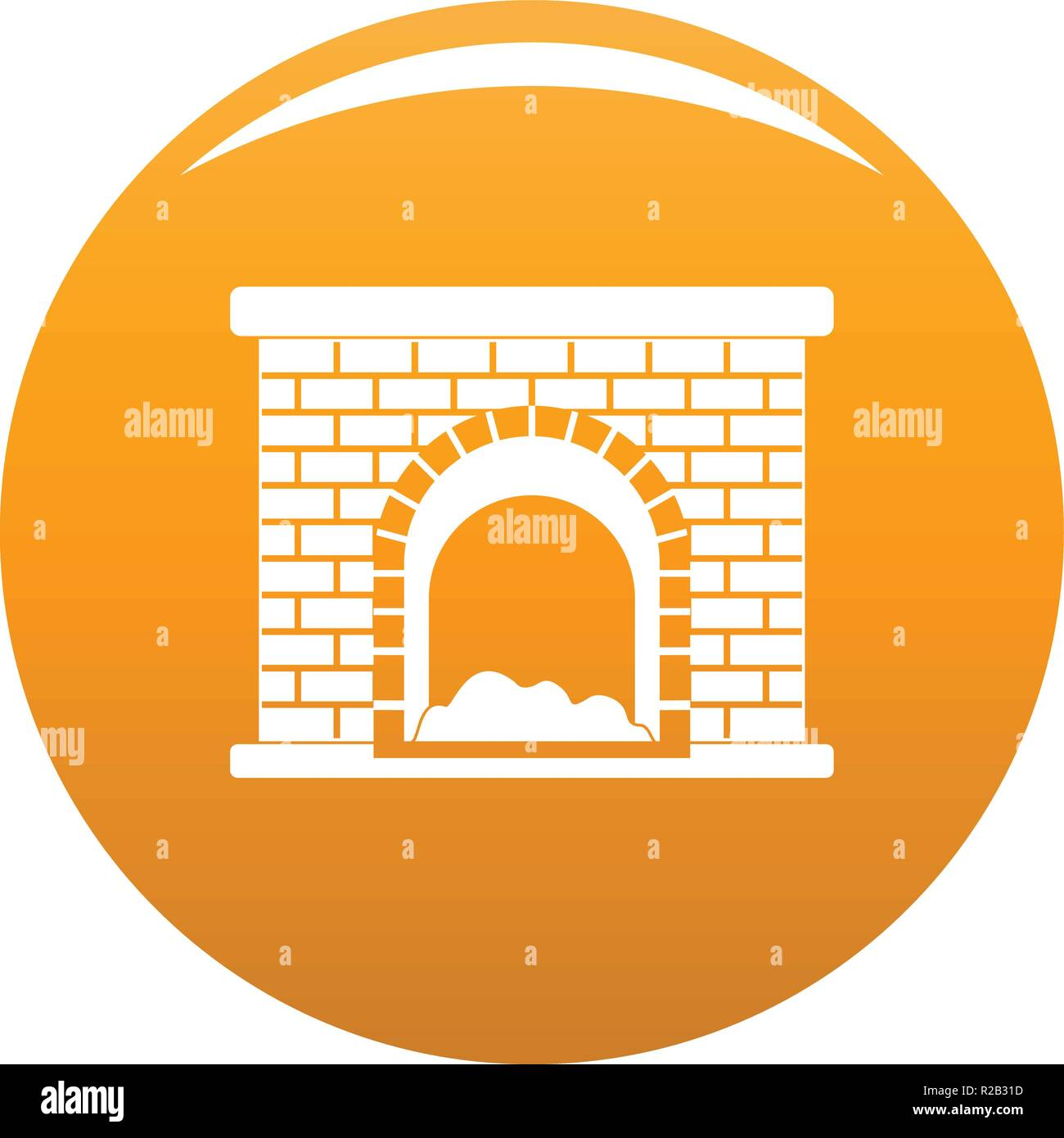 Brick Fireplace Icon Simple Illustration Of Brick Fireplace Vector