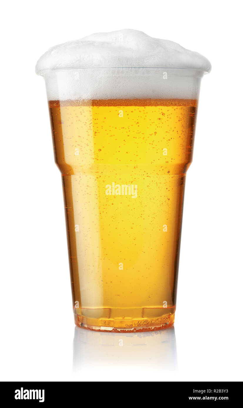 Front view of draught beer in plastic disposable cup isolated on white - Stock Image
