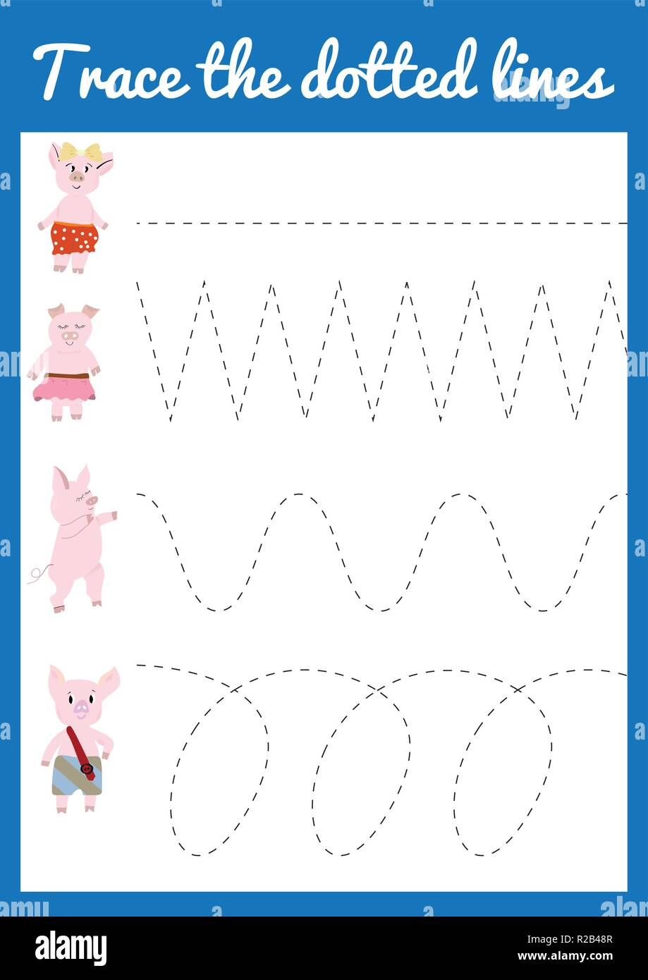 Handwriting practice sheet. Educational children game Trace ...