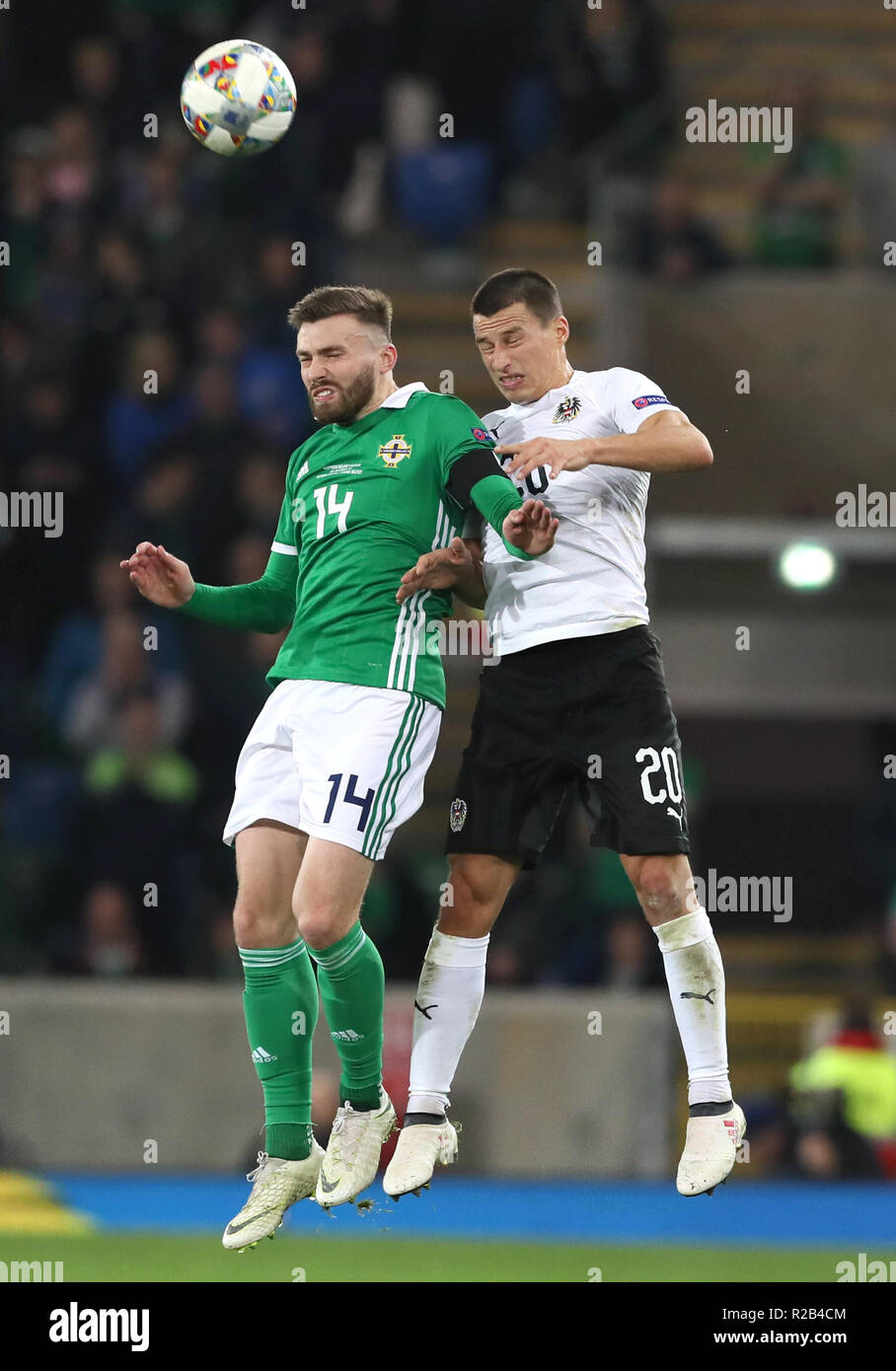 13a6b9a4d6 Northern Ireland s Stuart Dallas (left) and Austria s Stefan Lainer battle  for the ball during the UEFA Nations League
