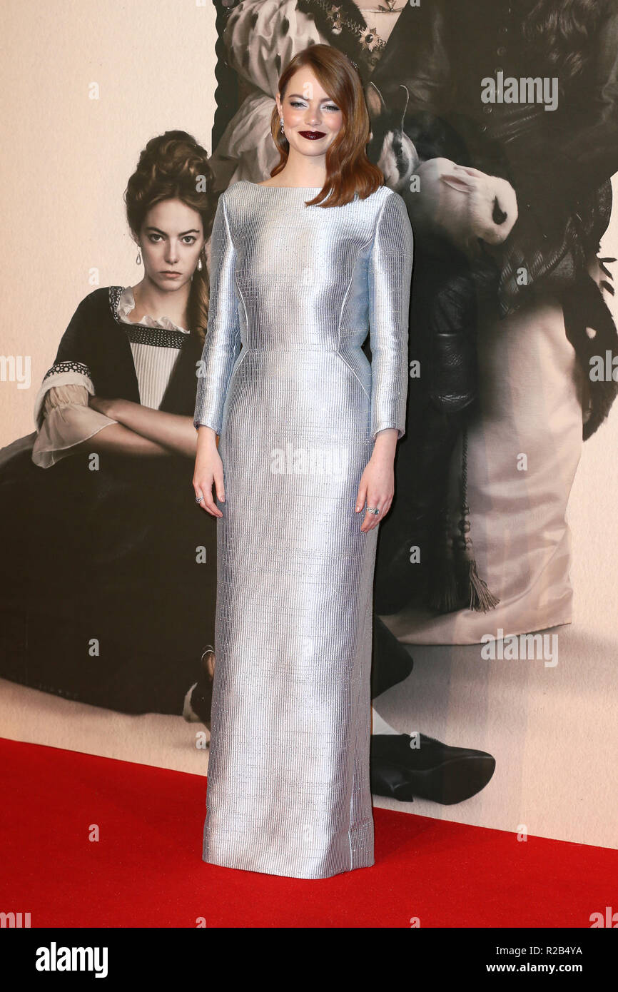 62nd BFI London Film Festival - 'The Favourite' - Premiere at the BFI Southbank  Featuring: Emma Stone Where: London, United Kingdom When: 18 Oct 2018 Credit: Mario Mitsis/WENN.com - Stock Image