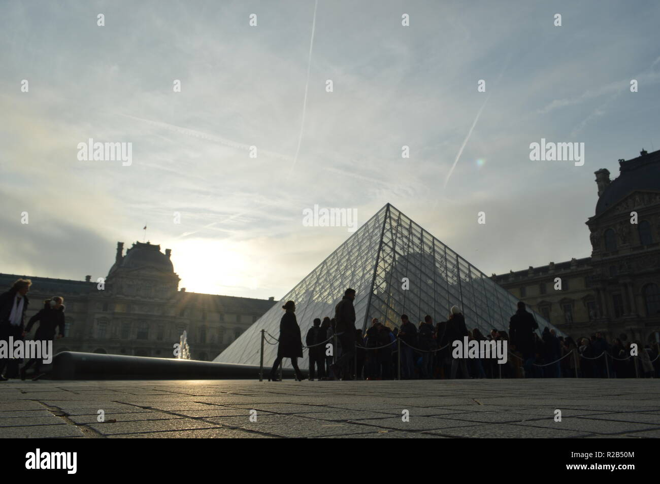 Shoot of Louvre Pyramid on early morning - Stock Image