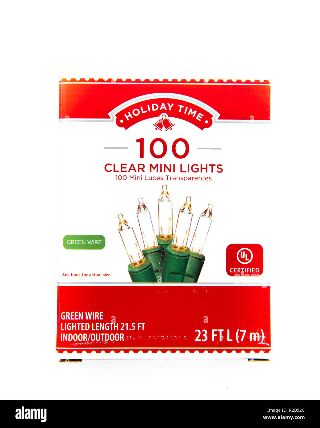 Christmas Lights Cut Out Stock Images Pictures Alamy Mini Xmas Wiring Diagram A Box Of Holiday Time Clear 100 On Green Wire