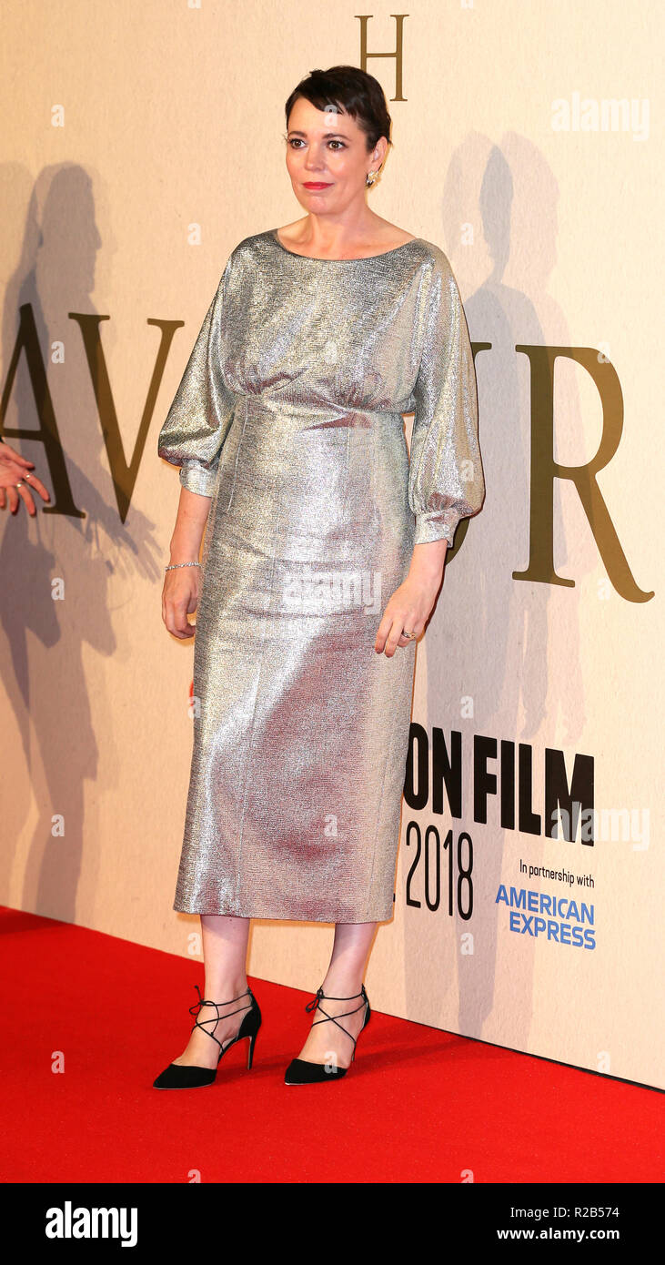 62nd BFI London Film Festival - 'The Favourite' - Premiere at the BFI Southbank  Featuring: Olivia Colman Where: London, United Kingdom When: 18 Oct 2018 Credit: Mario Mitsis/WENN.com - Stock Image