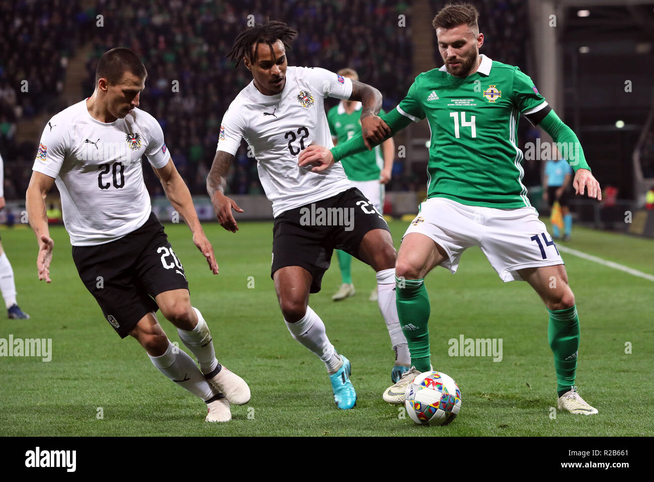 4ba3bcc6fd Northern Ireland s Stuart Dallas (left) battles for the ball with Austria s  Valentino Lazaro (centre) and Stefan Lainer during the UEFA Nations League