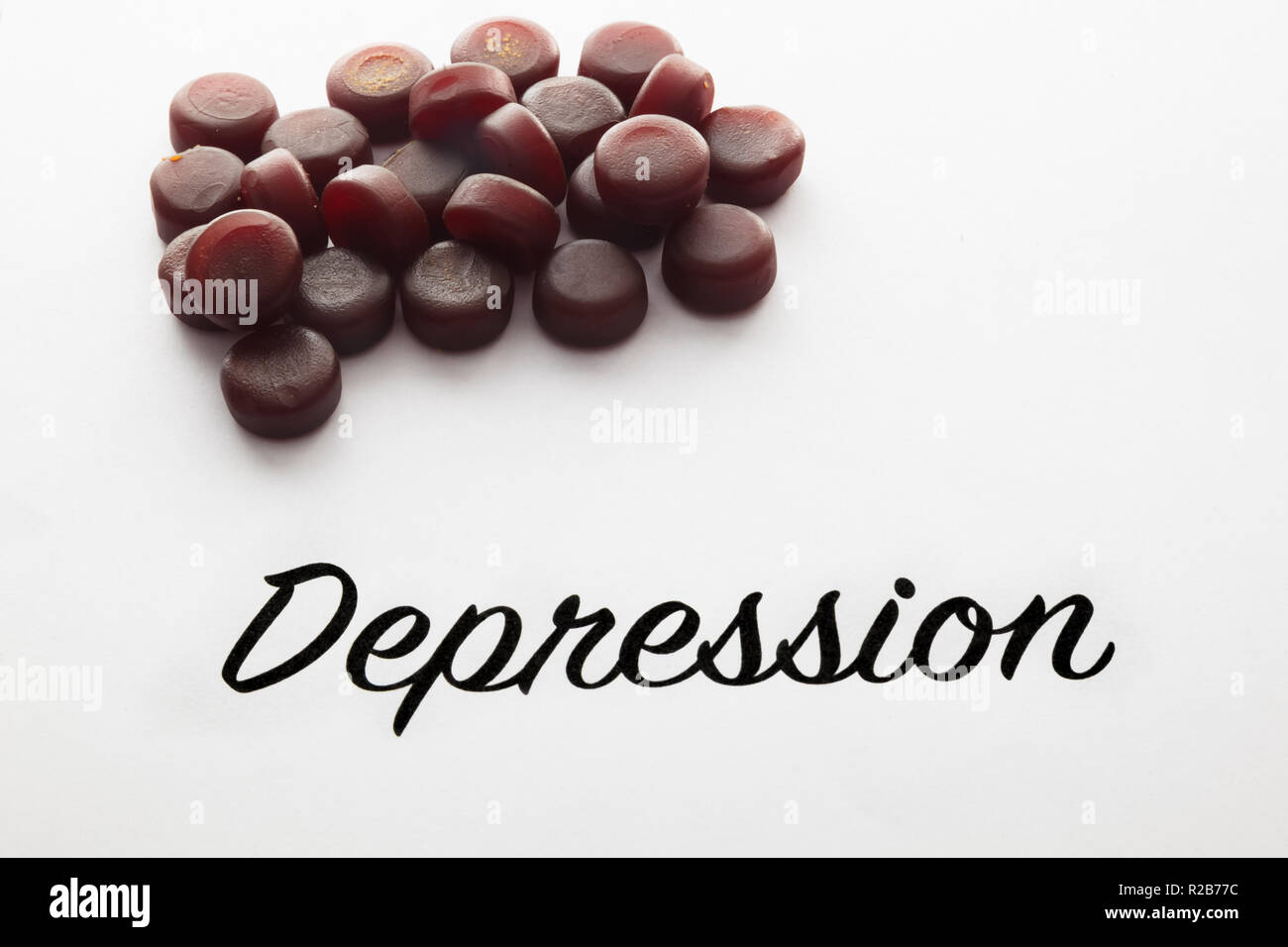Concept of Depression and medical pills - Stock Image