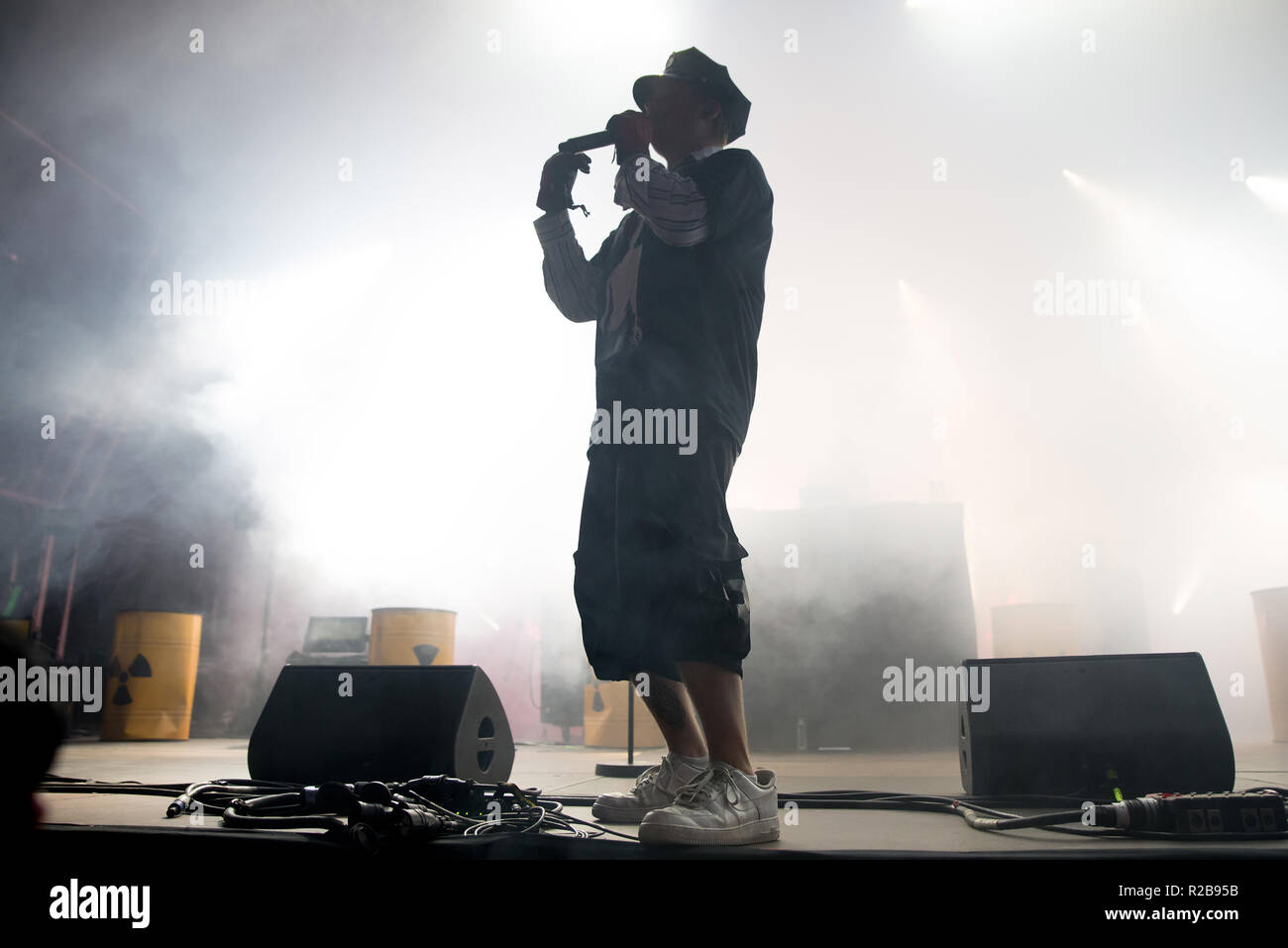 BARCELONA - JUN 15: Yung Lean (rap trap band) perform in concert at Sonar Festival on June 15, 2018 in Barcelona, Spain. - Stock Image