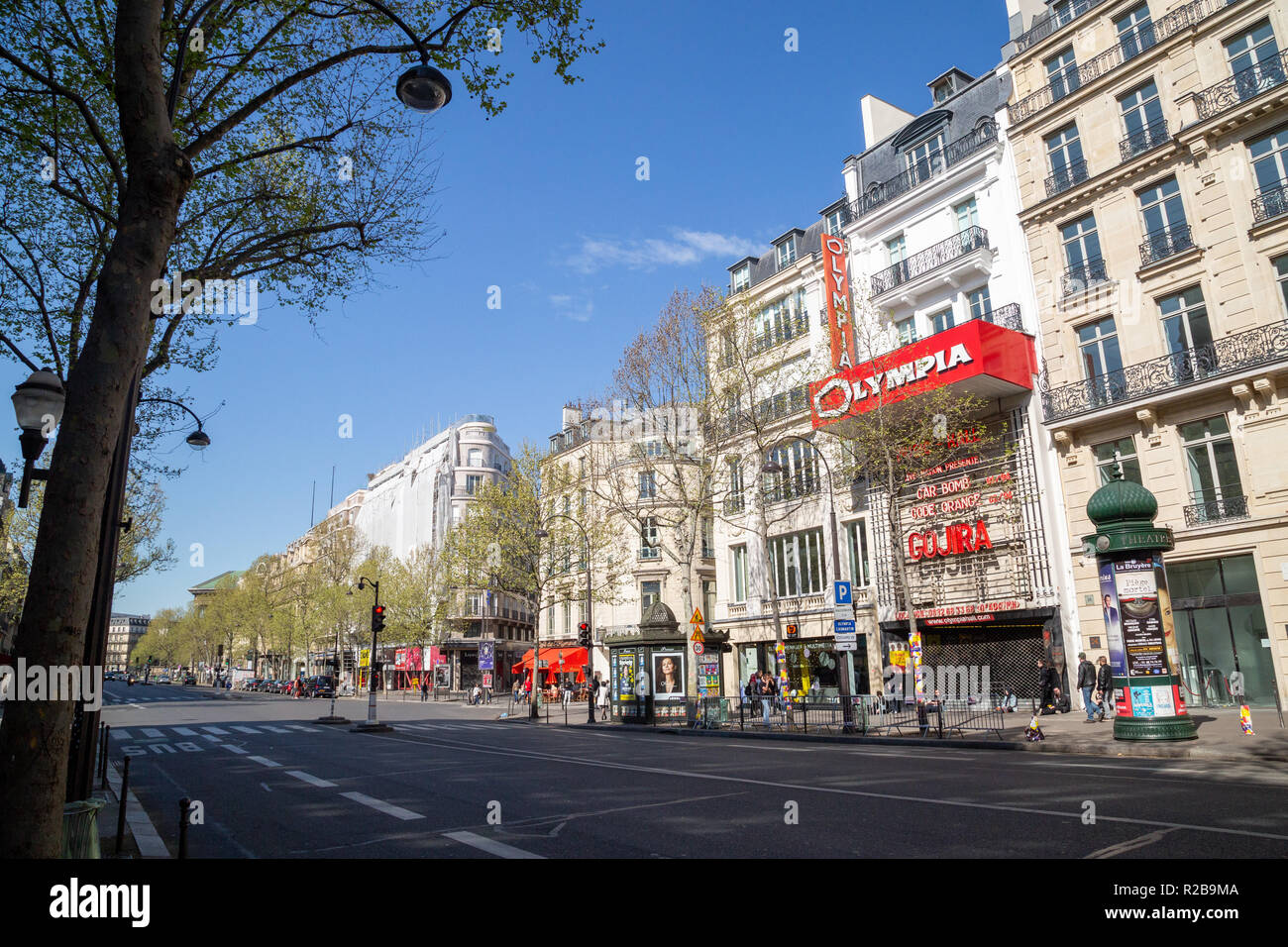 Paris/France - April 22nd 2017: L'olypmia concert hall with Gojira band sign - Stock Image