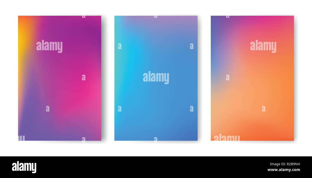 Abstract colorful gradient mesh vector background set. - Stock Image