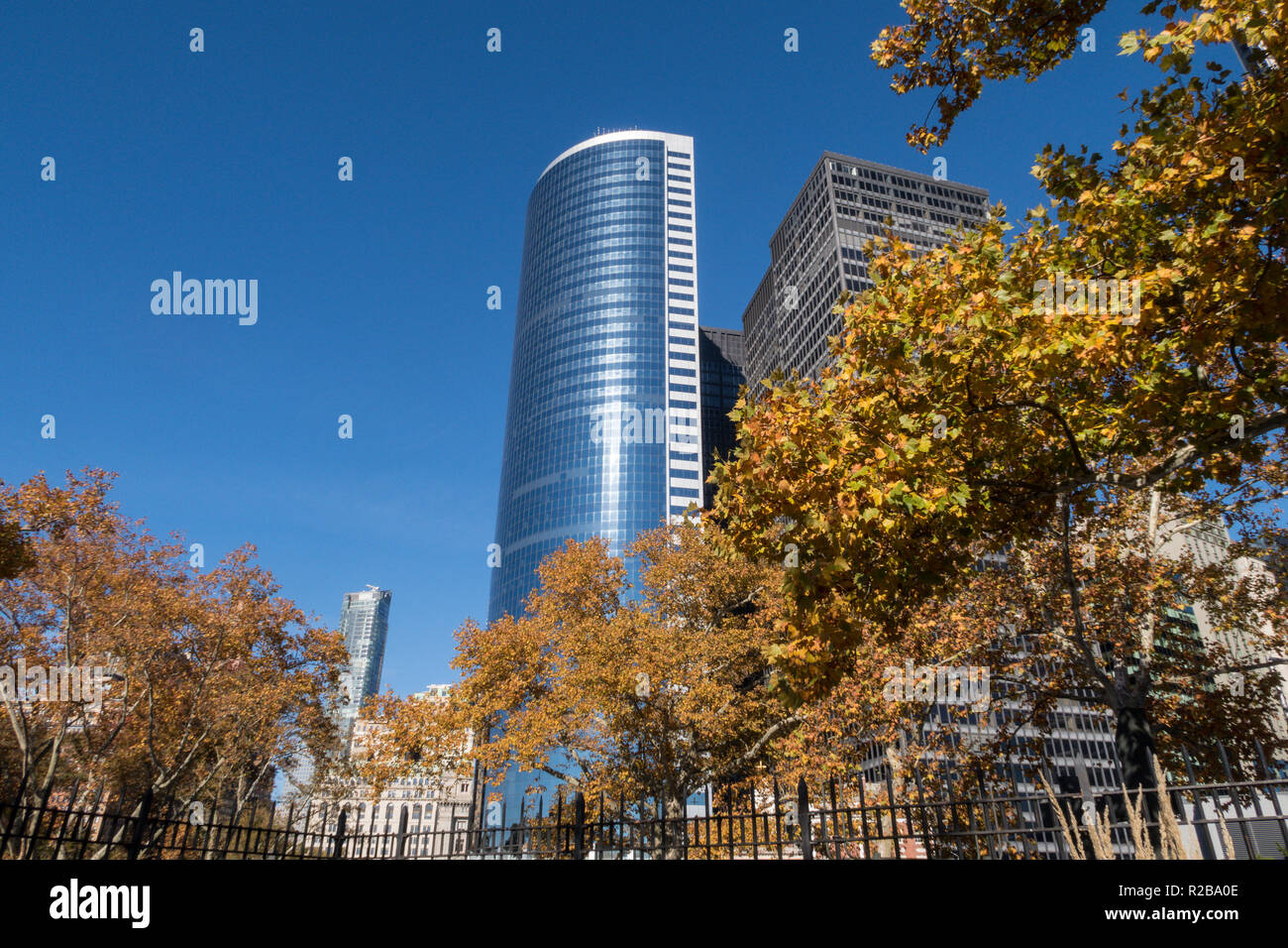 Battery Park & Office Buildings, Downtown, NYC - Stock Image