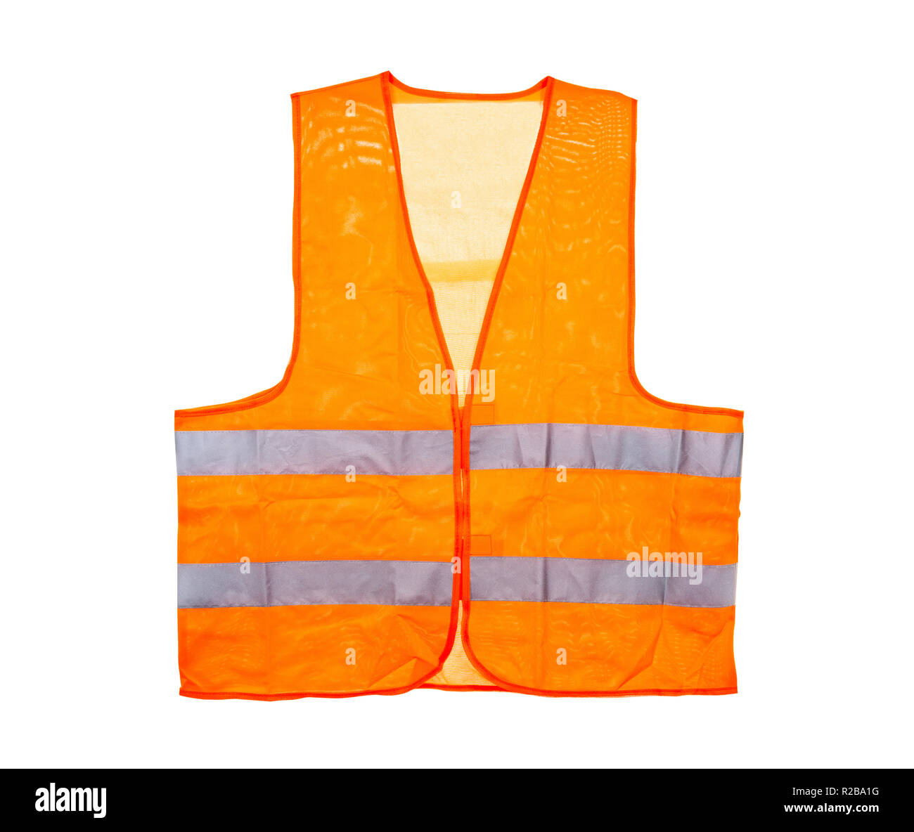 Orange safety vest, isolated on a white background with a clipping path. - Stock Image