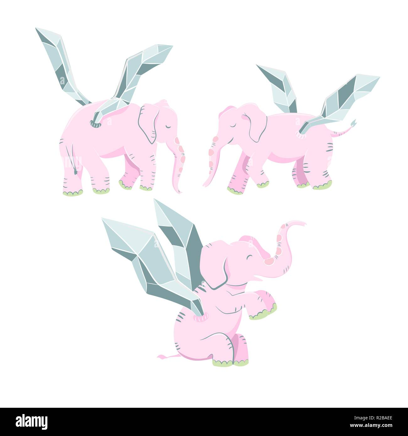 Cute flying elephant vector set. Magic creature character for baby shower and nursery. - Stock Vector