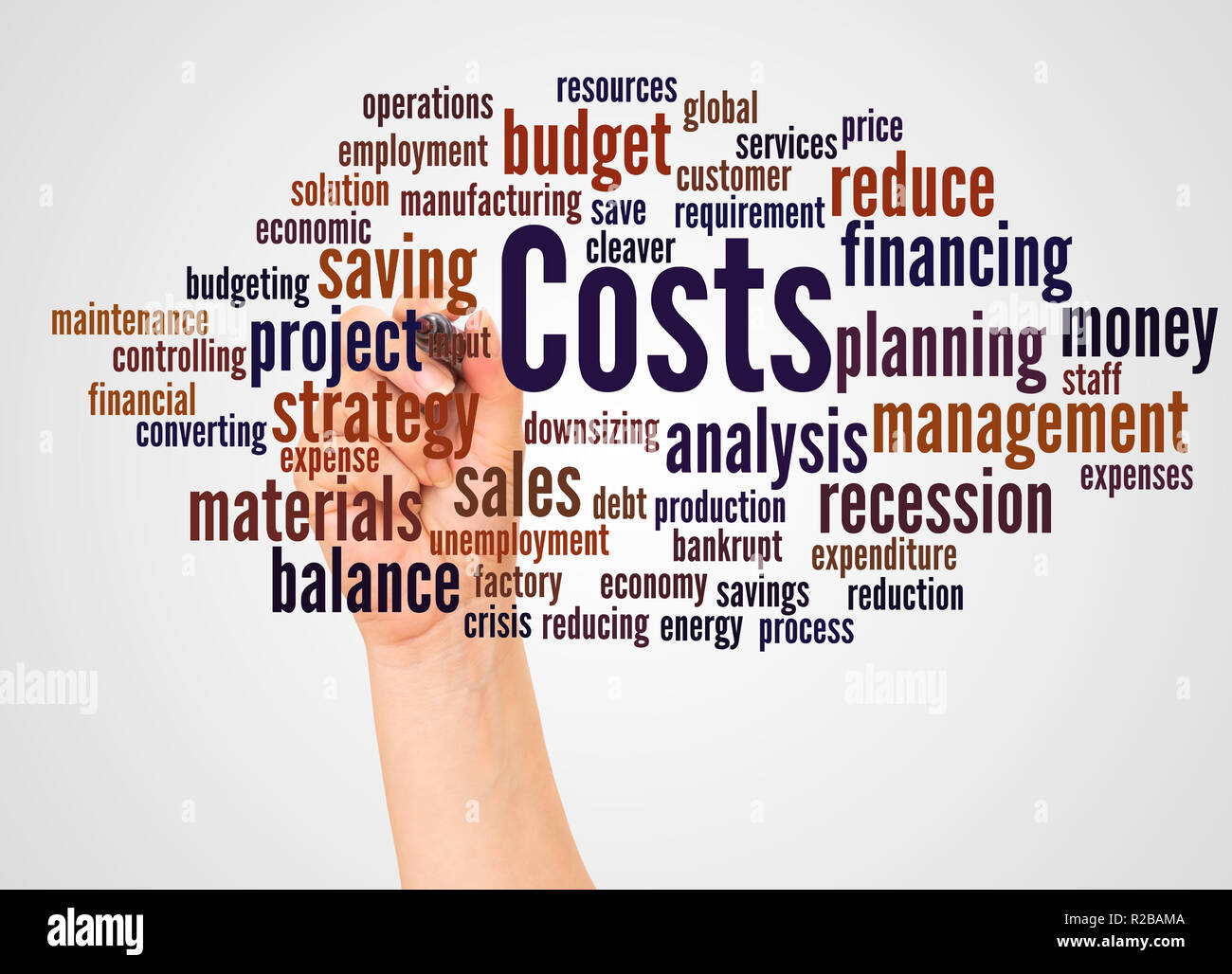 Costs word cloud and hand with marker concept on white background. - Stock Image