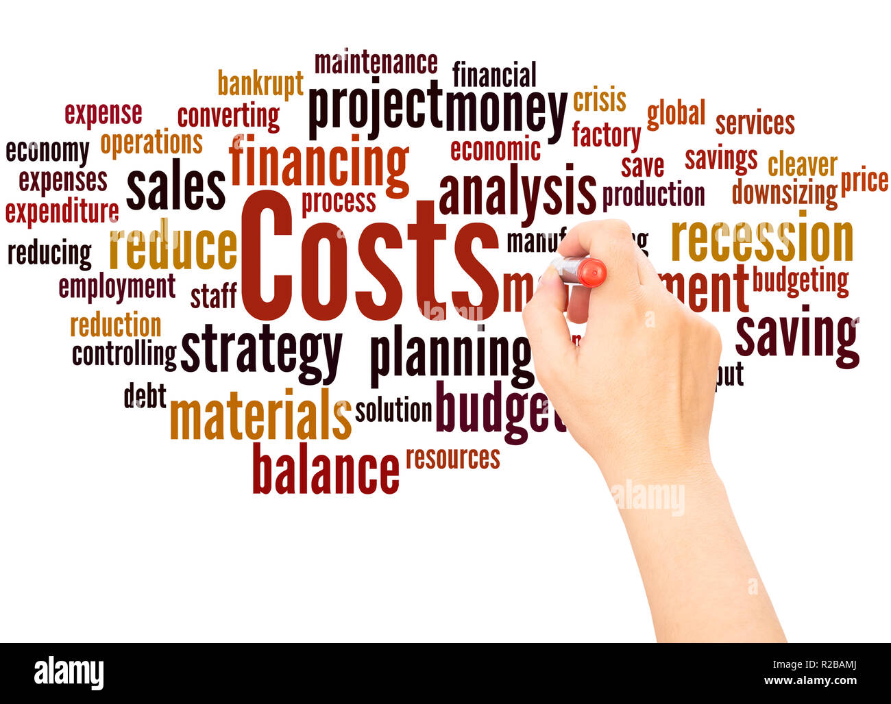 Costs word cloud hand writing concept on white background. - Stock Image