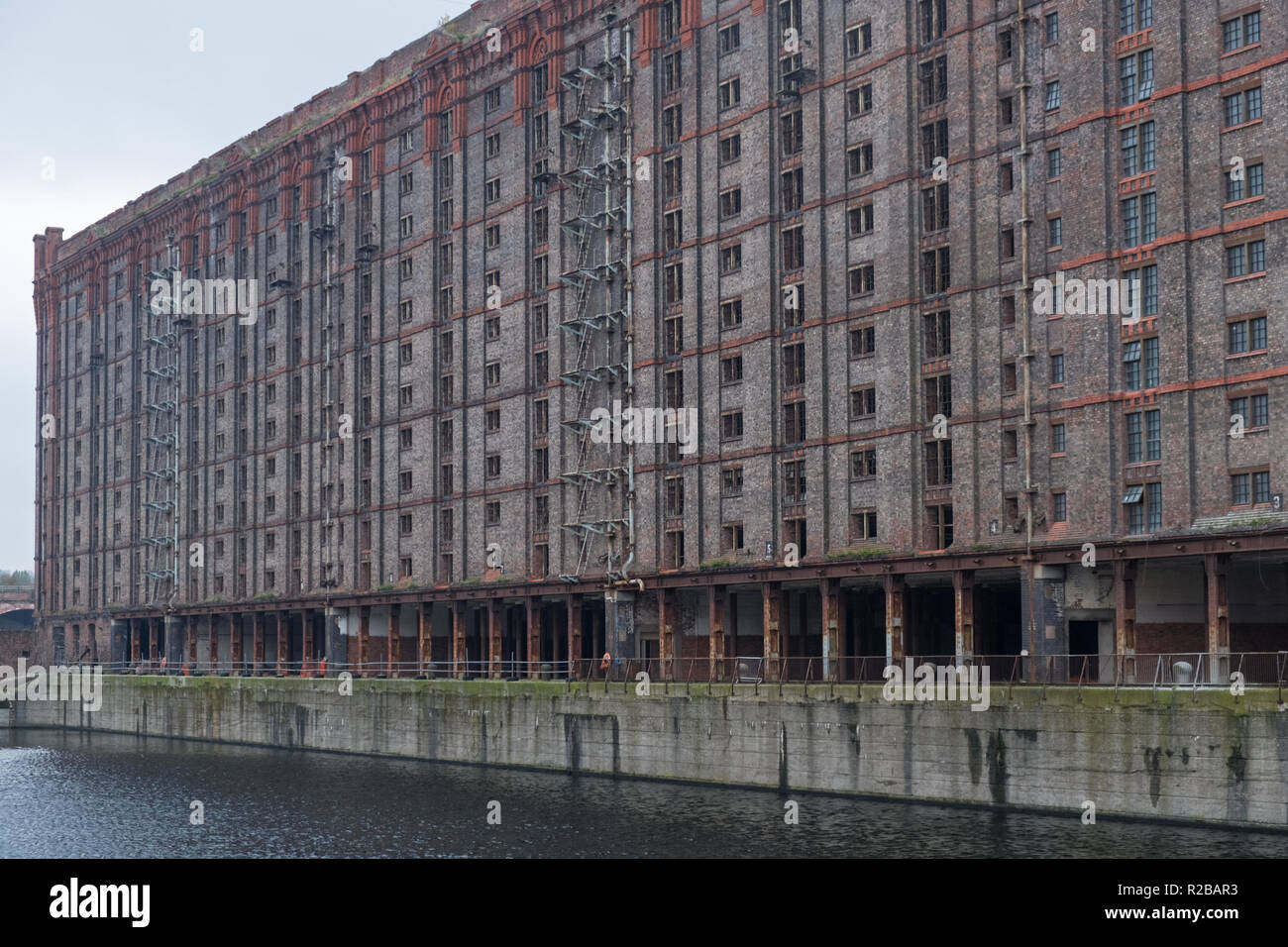 Derelict Victorian tobacco warehouse at the disused Stanley Dock on the Liverpool waterfront Stock Photo