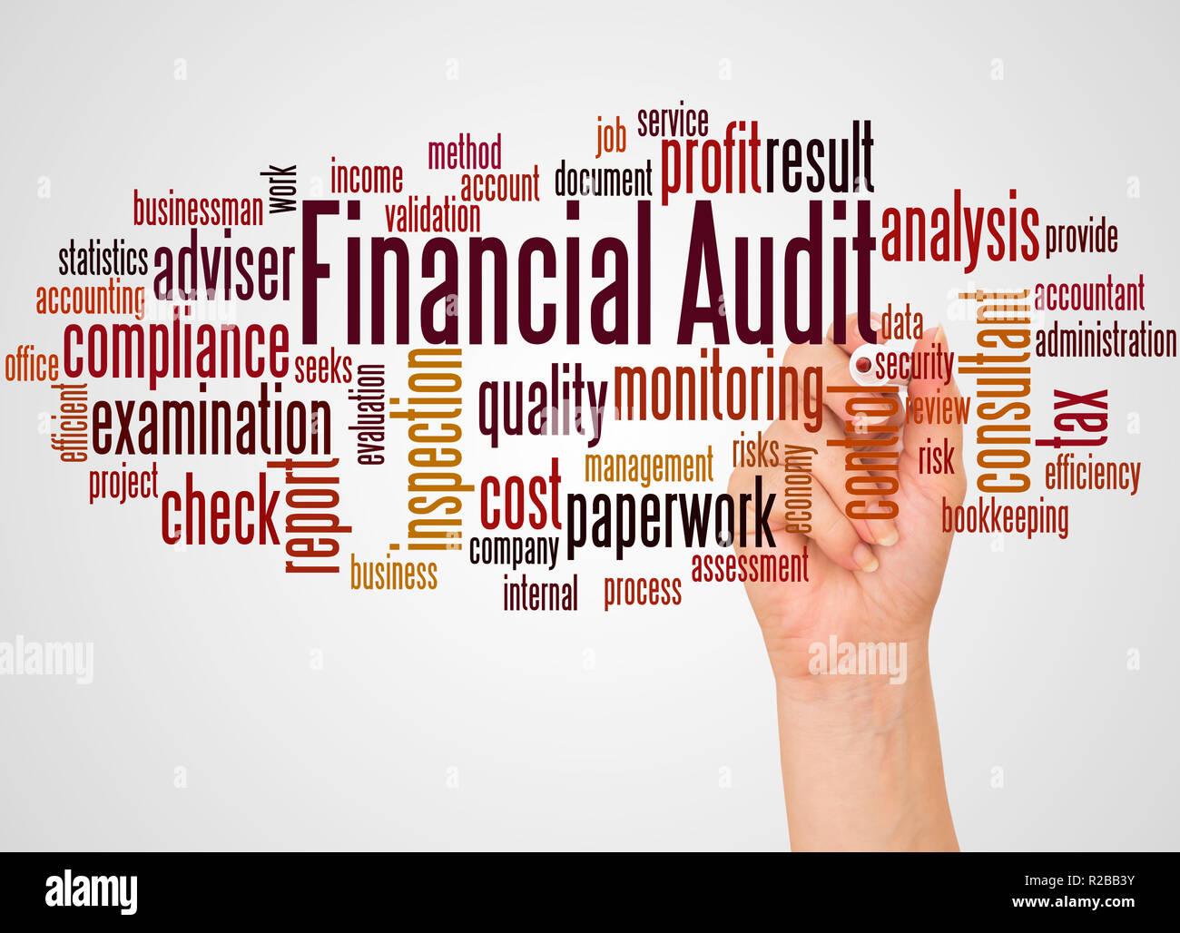 Financial audit word cloud and hand with marker concept on white