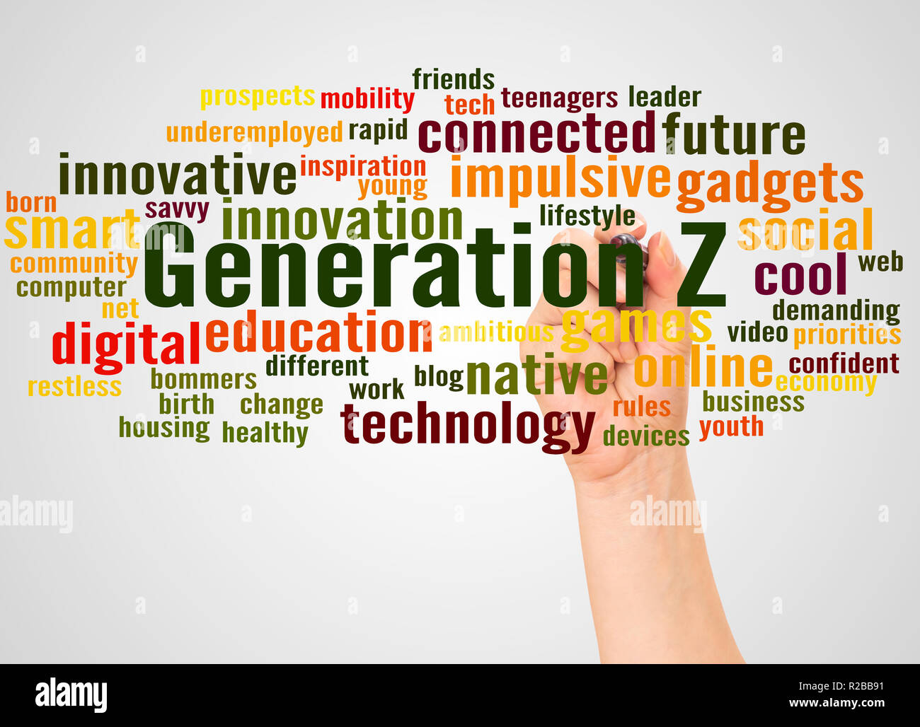 Generation Z word cloud and hand with marker concept on white background. - Stock Image