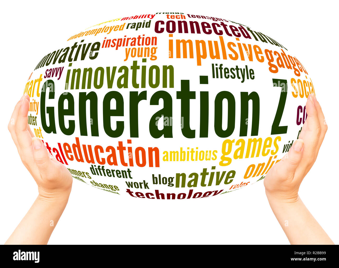 Generation Z word cloud hand sphere concept on white background. - Stock Image