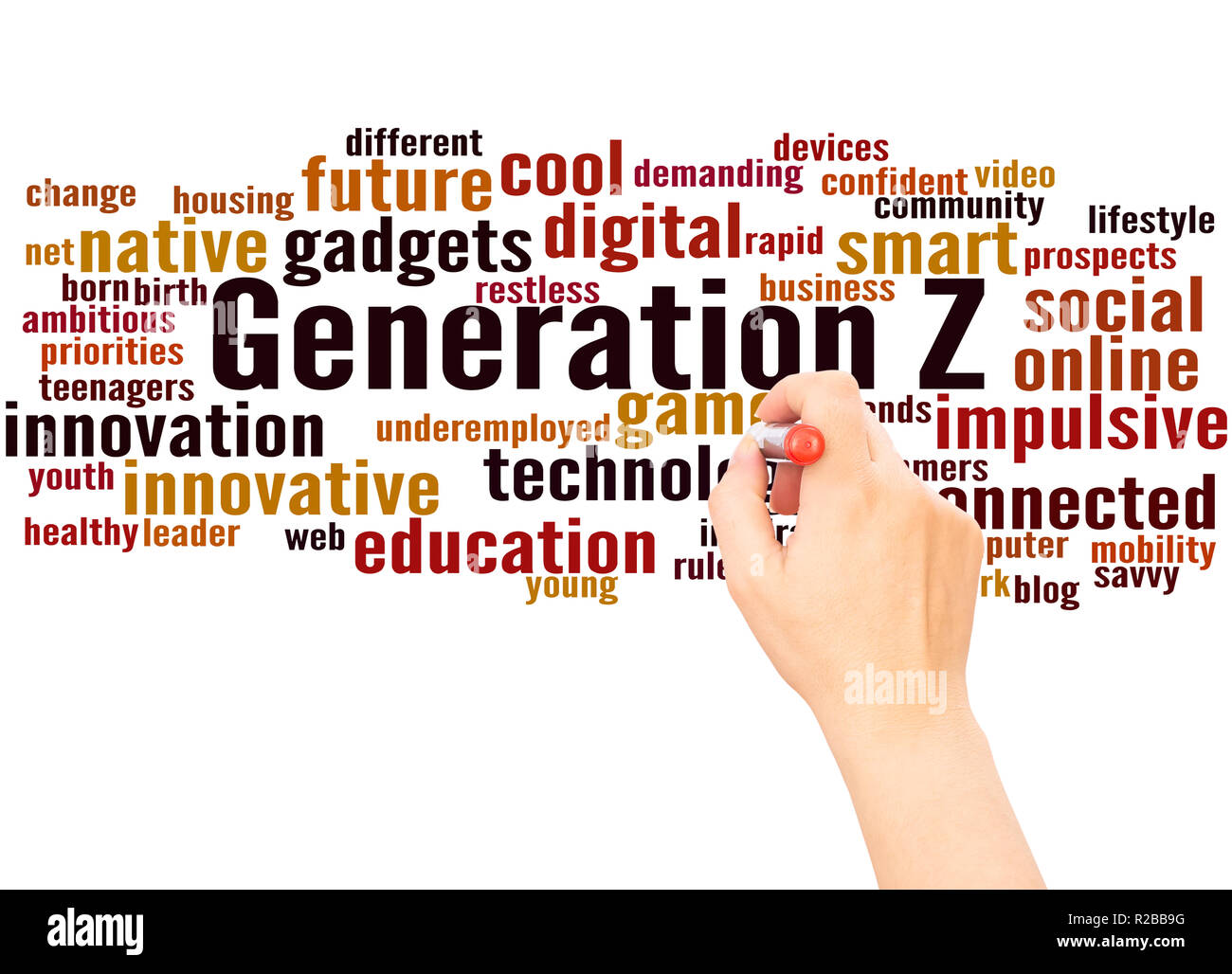 Generation Z word cloud hand writing concept on white background. - Stock Image