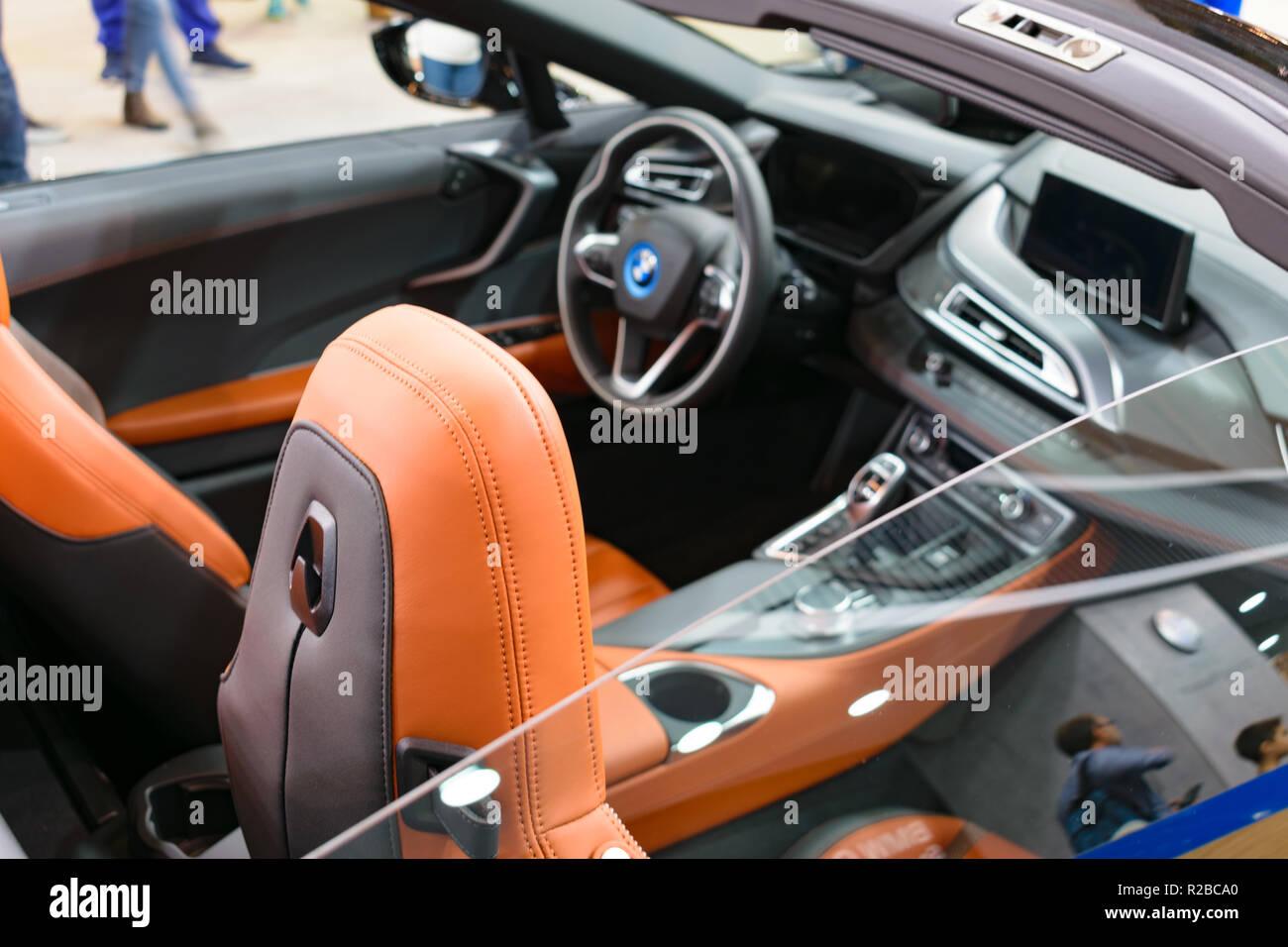 Interior Of Bmw I8 Roadster Car Stock Photos Interior Of Bmw I8