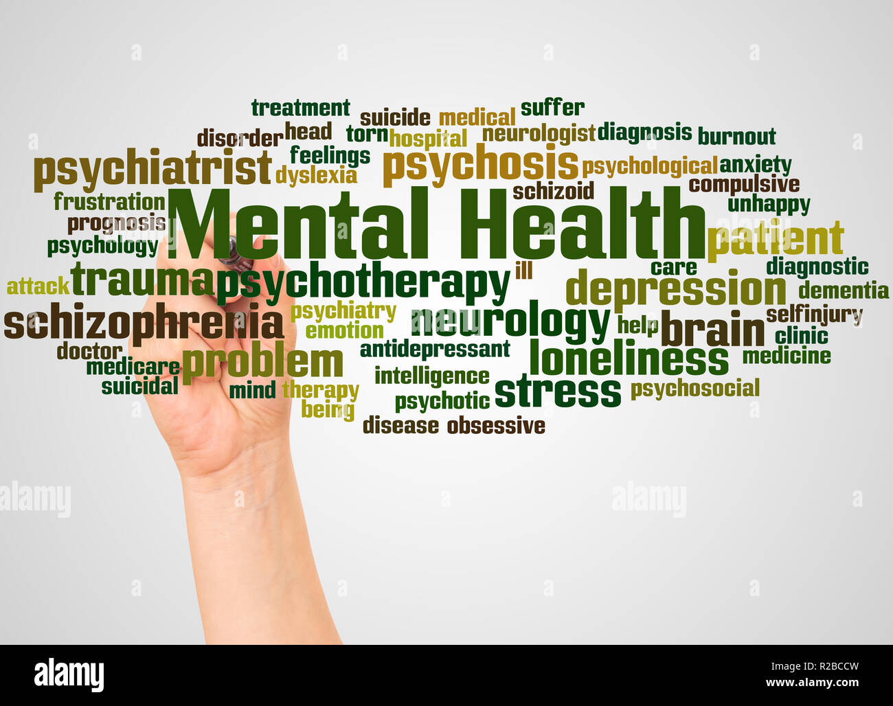 Mental health word cloud and hand with marker concept on white background. - Stock Image