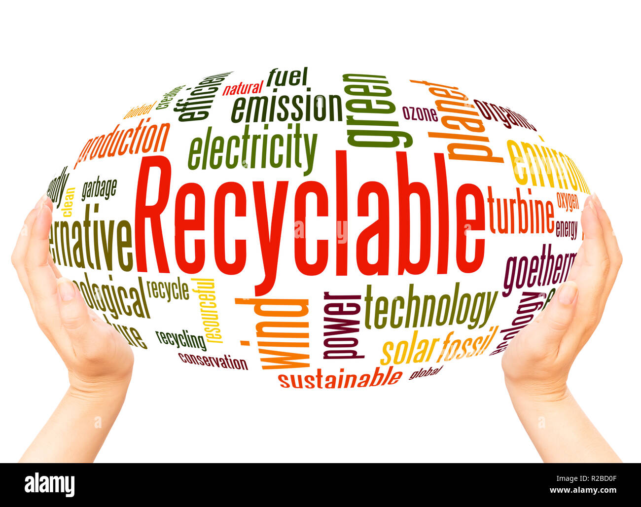 Recyclable word cloud hand sphere concept on white background. - Stock Image