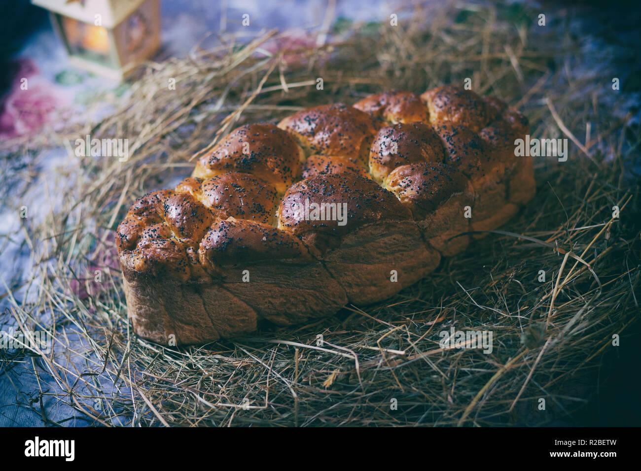 Kalach. Traditional East Slavic bread. Christmas still life - Stock Image