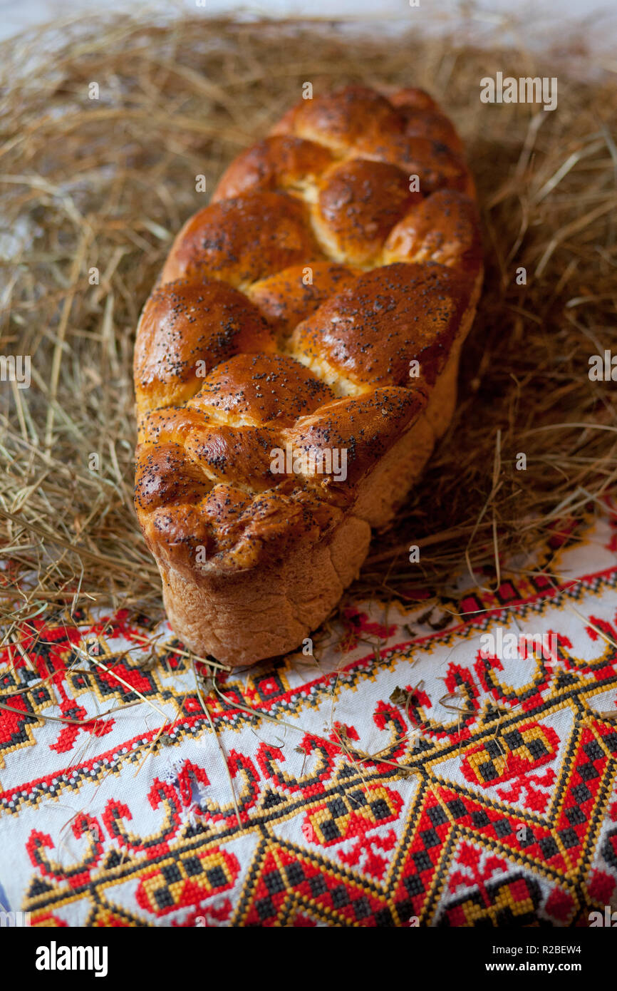 Kalach. Traditional East Slavic bread. Christmas still life - Stock Image