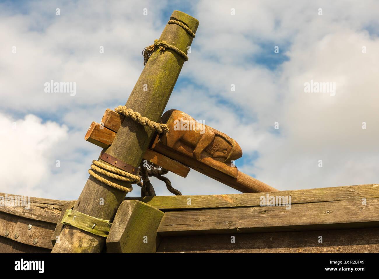 Gokstad Viking longship, replica, Haroldswick, Shetalnd - Stock Image