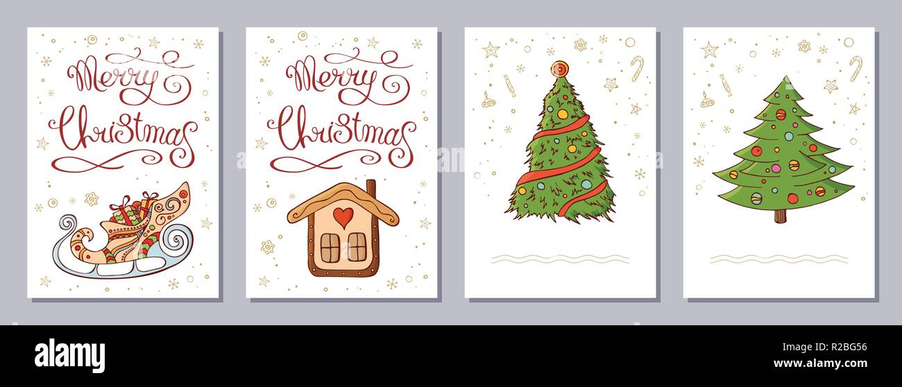 Christmas Greeting Card Or Invitation Set A6 Size Template