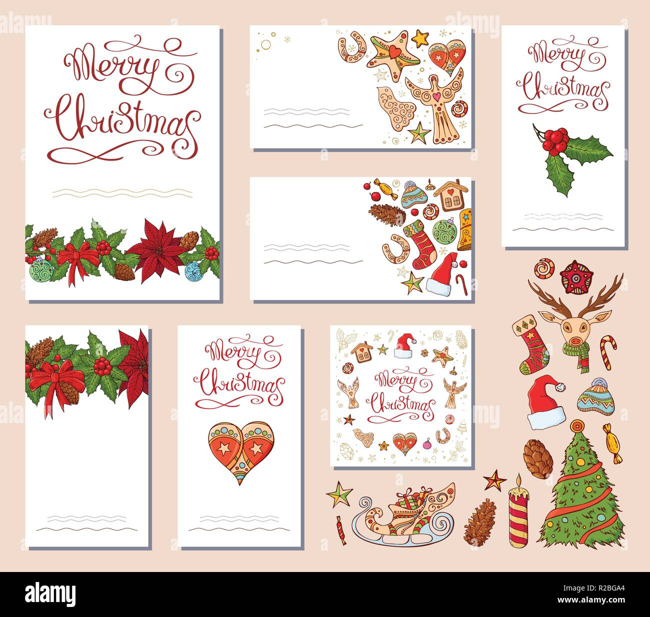 festive templates with different traditional christmas symbols and