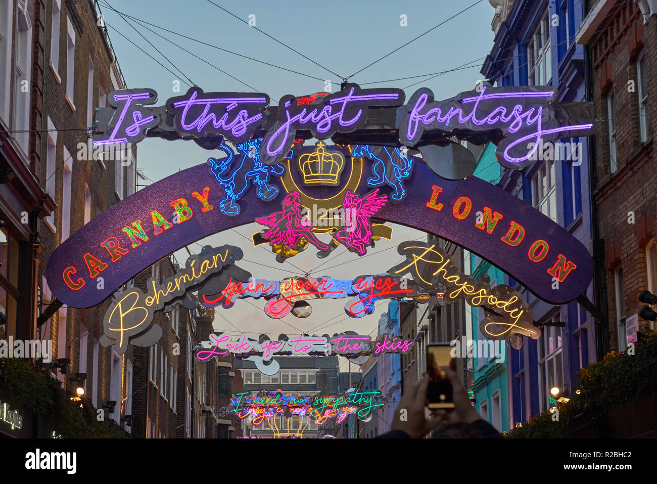 Christmas decorations  Carnaby Sreet London 2018 - Stock Image