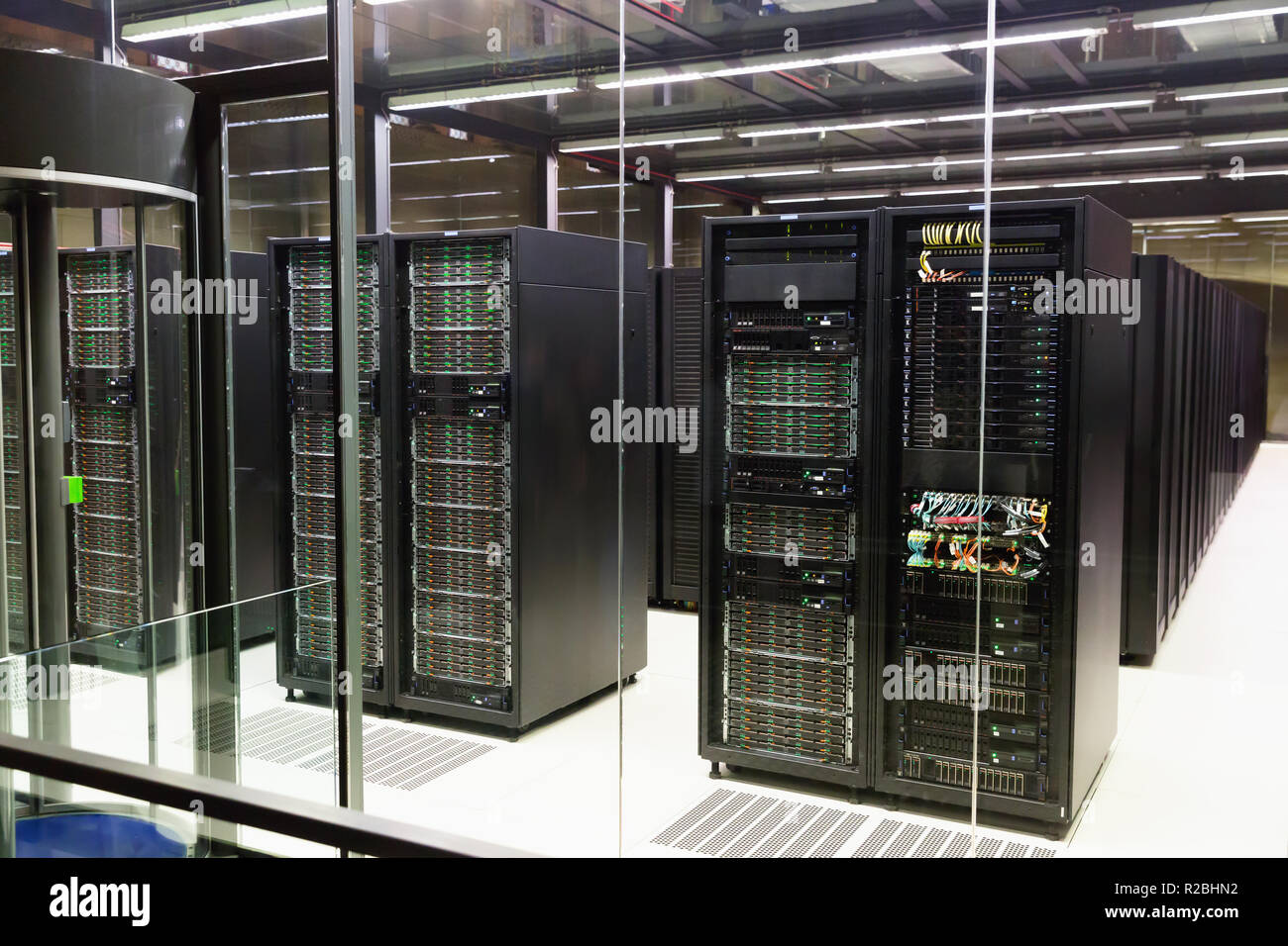View of working server room in modern data center Stock