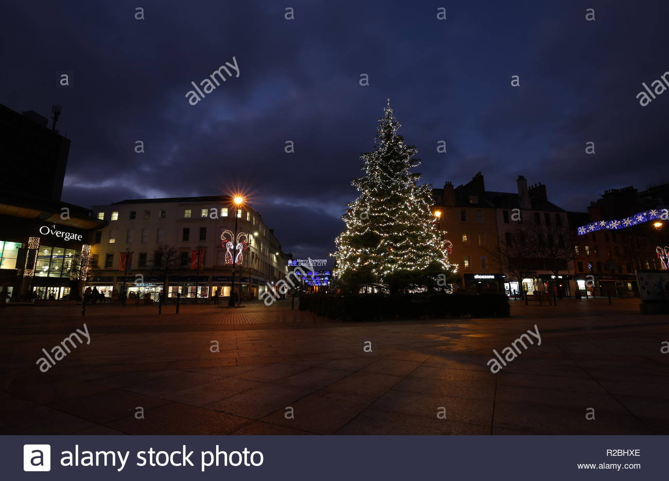 Christmas Tree in City Square Dundee Scotland  November 2018 - Stock Image
