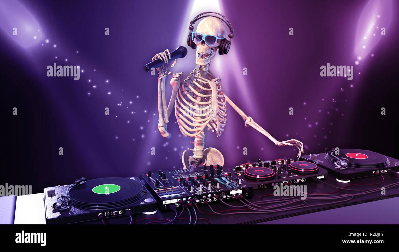 DJ Bones, human skeleton with microphone playing music on turntables, skeleton with disc jockey audio equipment, 3D rendering - Stock Image