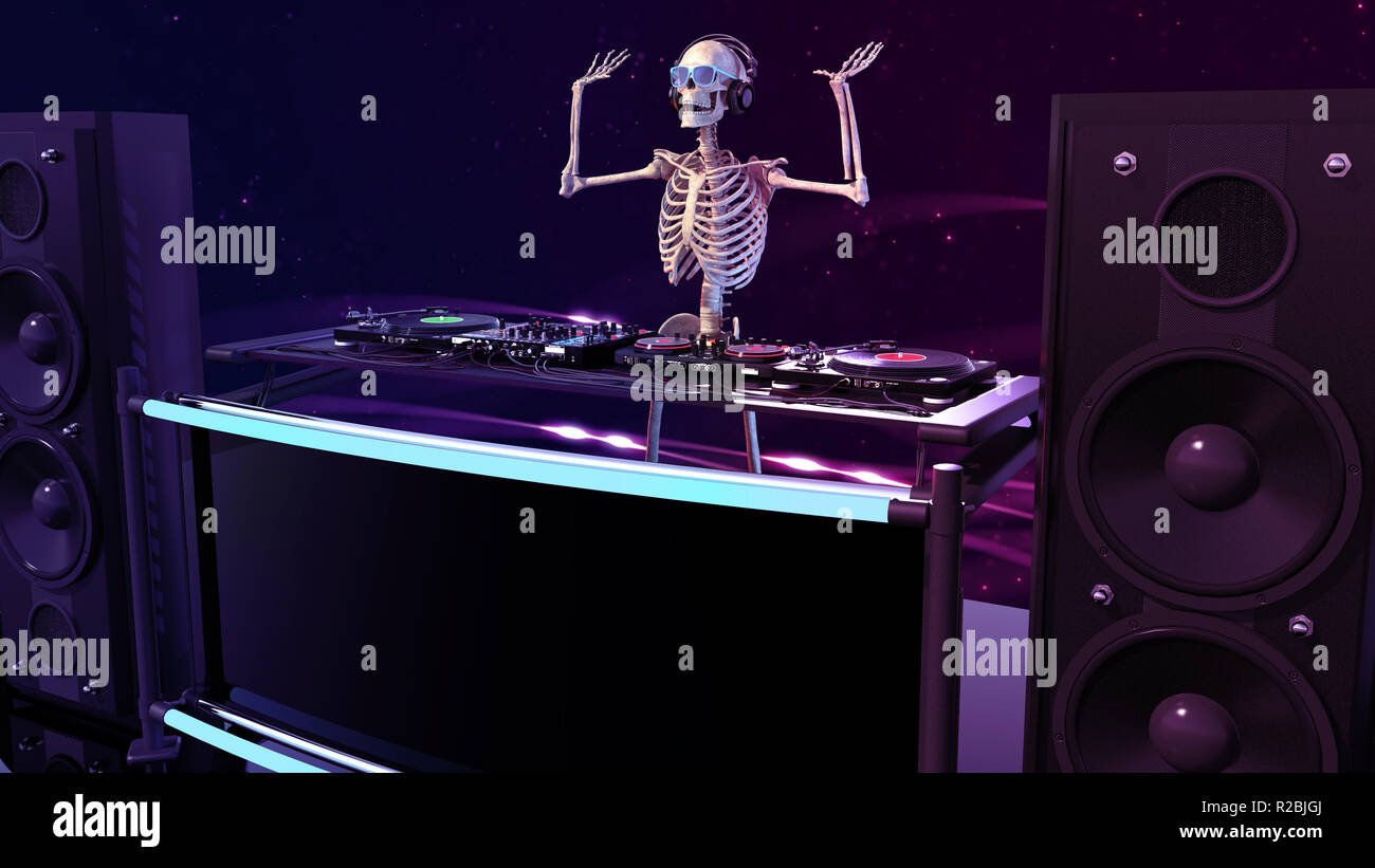 DJ Bones, human skeleton playing music on turntables, skeleton on stage with disc jockey audio equipment, 3D rendering - Stock Image