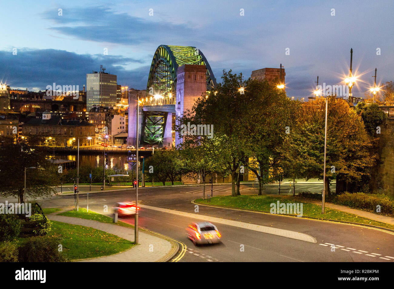 Newcastle upon Tyne/England: Tyne Bridge at night with car light trails Stock Photo