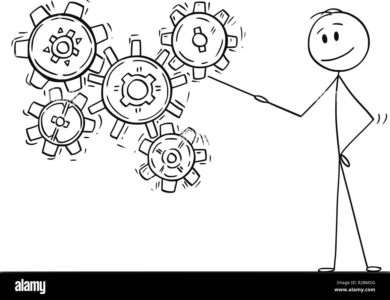 Cartoon of Man or Businessman Pointing at Working Cogwheels or Cog or Gear Wheels - Stock Image