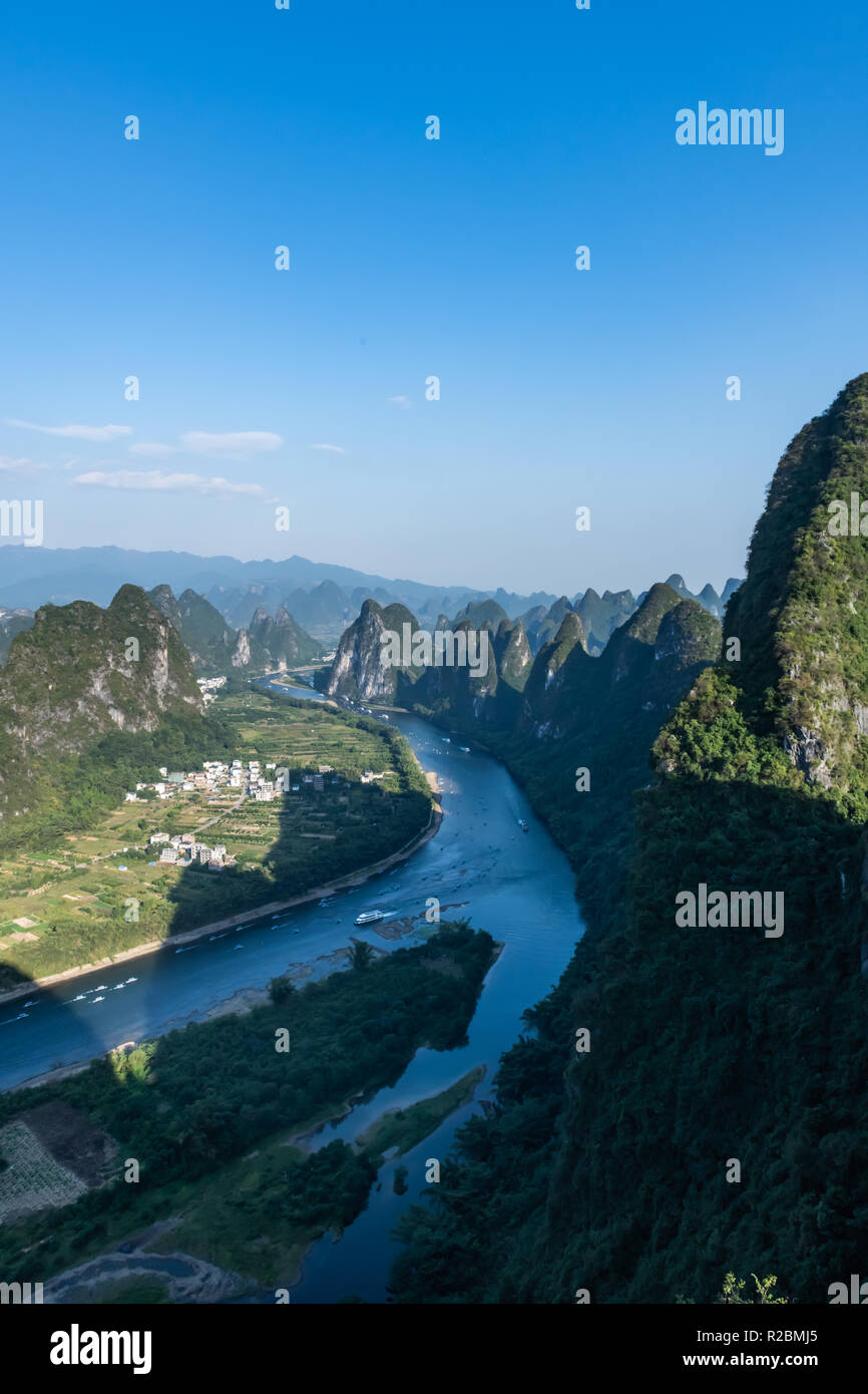 Lijiang River view from Lookout - Stock Image