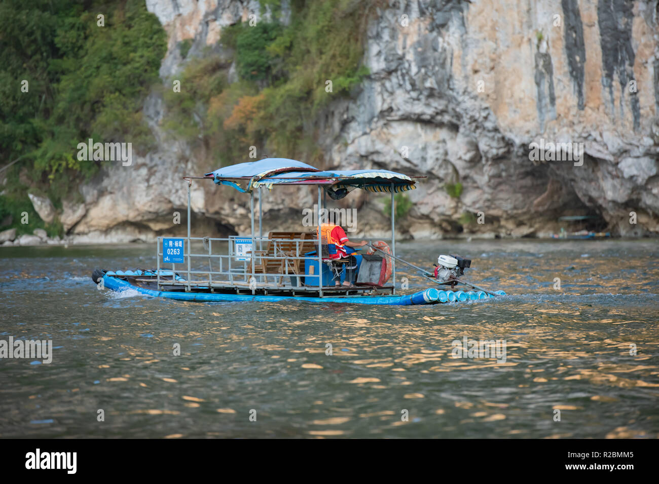Water taxi on Lijiang River - Stock Image