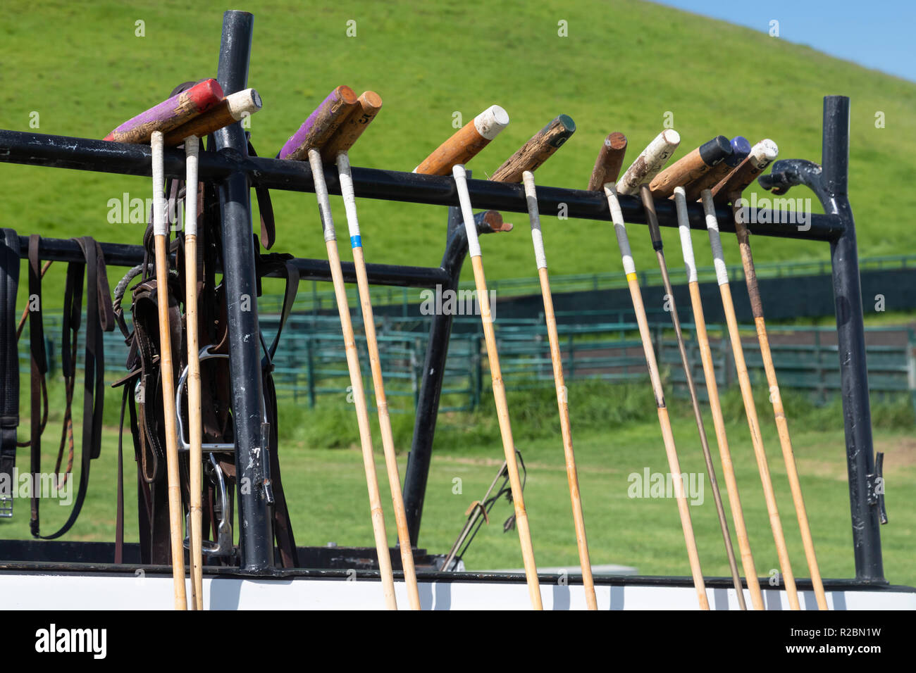Waikii, Hawaii - Polo mallets on a truck at the Mauna Kea Polo Club. The club plays Sunday afternoons on the slopes of the dormant volcano, Mauna Kea. - Stock Image