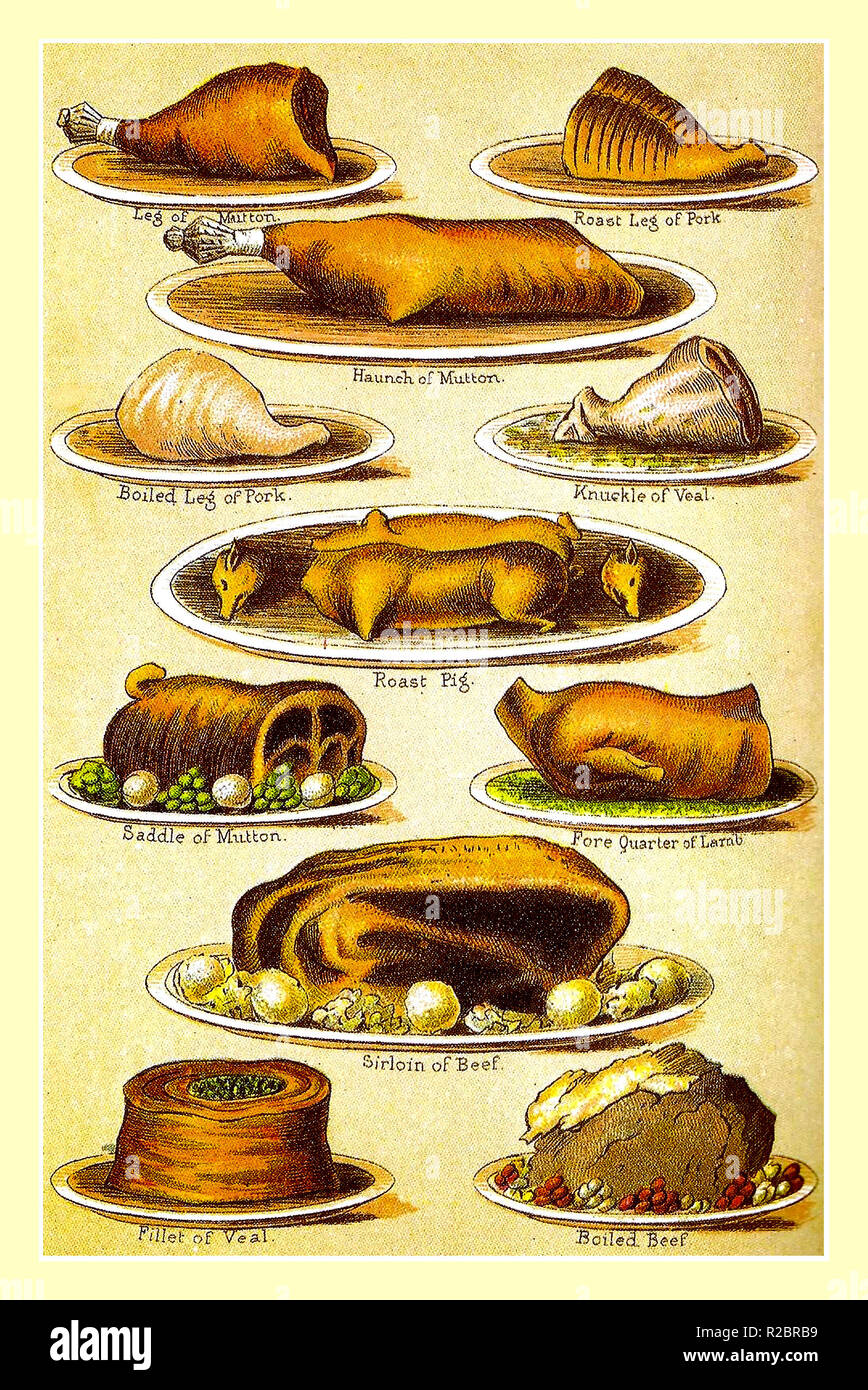 Mrs Beetons 1900's Vintage lithograph plated party entertaining meats variety including Veal, Boiled Pork, Suckling Pig, Lamb fore quarter, Saddle Mutton, Sirloin Beef, Mrs Beetons Everyday Cookery. Ward Lock & Co London & New York 1907 - Stock Image