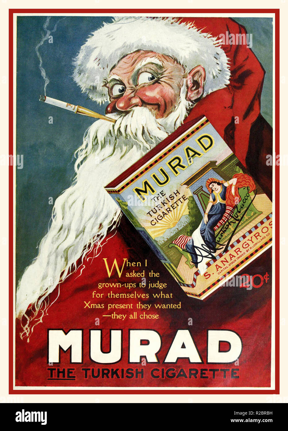 Vintage American USA press advertisement showing Santa Claus /Father Christmas  smoking a Turkish Murad Cigarette, Press Advertisement c1920  The Theater Magazine advertisements in the 1920's - Stock Image