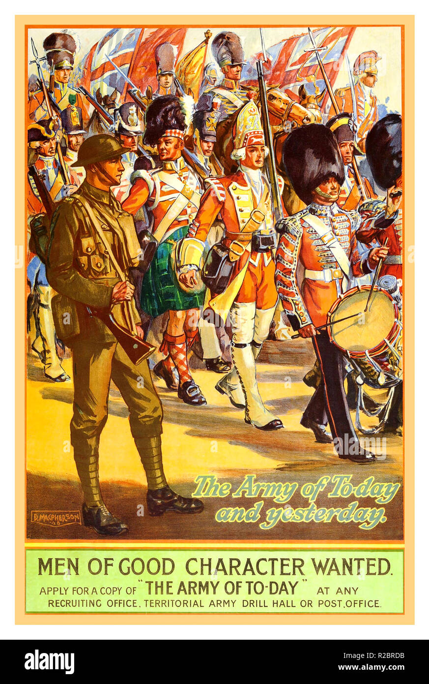 Vintage WW1 propaganda poster 1913 British Army Recruitment Poster illustrating Great Britain Armies in uniform marching back through history.. The Army of Today and Yesterday.. 'men of good character wanted'     'The Army of Today' Stock Photo