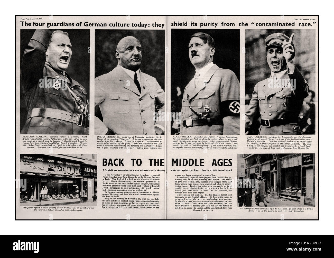 NAZI PERSECUTION PRE- WAR NEWS ARTICLE 1938.. Illustrated Newspaper article on German Culture and the Nazi Party. Leading Nazis featured L-R are Hermann Goering, Julius Streicher, Adolf Hitler and Paul Goebbels. Pre WW2 World War WW2 II article highlighting the increasing violent anti-semitic persecution of German Jews by the NSDAP /Nazi Party such as the Kristallnacht pogrom represented by the four leading Nazis featured... 'Picture Post' Great Britain Nov 26th 1938 - Stock Image