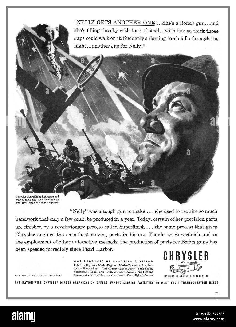 WW2 American propaganda advertisement by Chrysler Corporation 1940's war effort. Bofors Gun and searchlight reflectors production in USA speedily increased since Japanese aggression at Pearl Harbor - Stock Image
