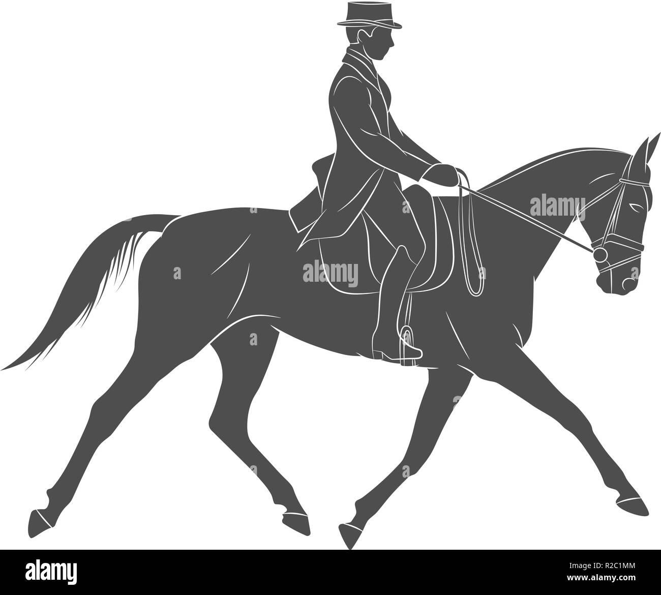 Equestrian sport. Jockey in uniform riding horse. Dressage - Stock Image