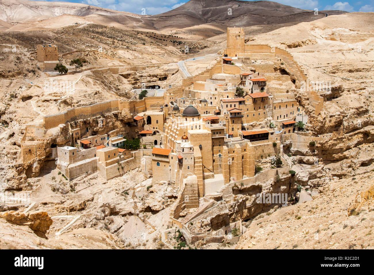 Holy Lavra of Saint Sabbas, Mar Saba, Eastern Orthodox Christian monastery overlooking the Kidron Valley. West Bank, Palestine, Israel. - Stock Image