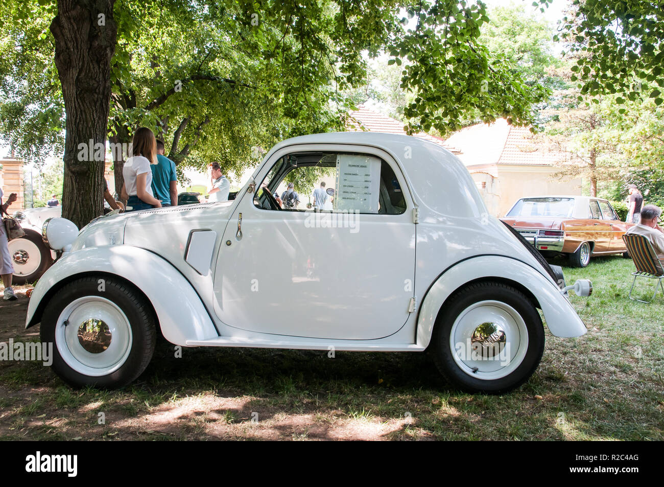 Prague, Czech Republic, May 26, 2018, Simca 5 is a small French-Italian passenger car designed by Fiat engineers in Turin. - Stock Image