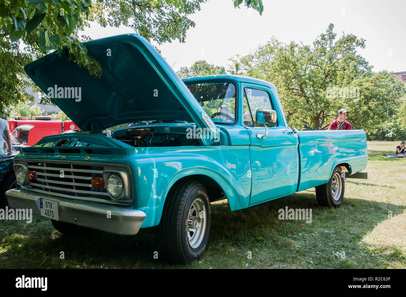 Prague, Czech Republic, 26.5.2018, Ford F100 3500c year of production 1964, Fourth generation Ford F-Series is a series of pickup trucks for commercia Stock Photo